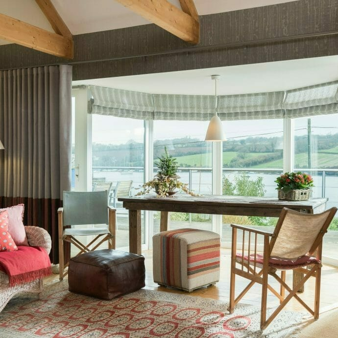 Mylor Private Residence Wave curtains  Camellia Interiors