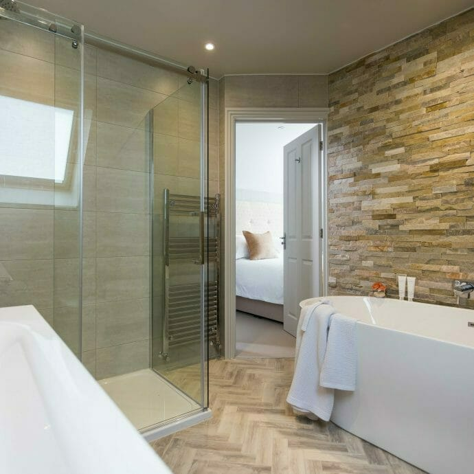 Natural Bathroom with Wood Effect floor tiles
