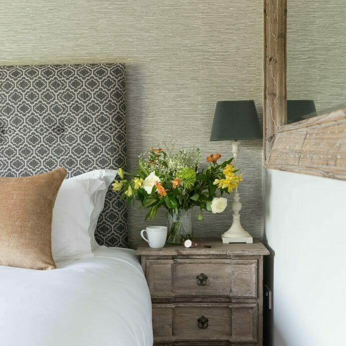 Garden Bedroom in Polzeath with Jane Churchill Wallpaper