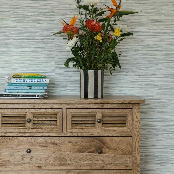 Oak Chest of Drawers against Sanderson Wallpaper