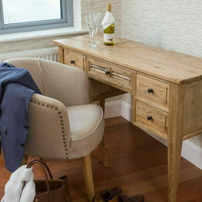 Oak Dressing Table with Linen Chair in St Ives