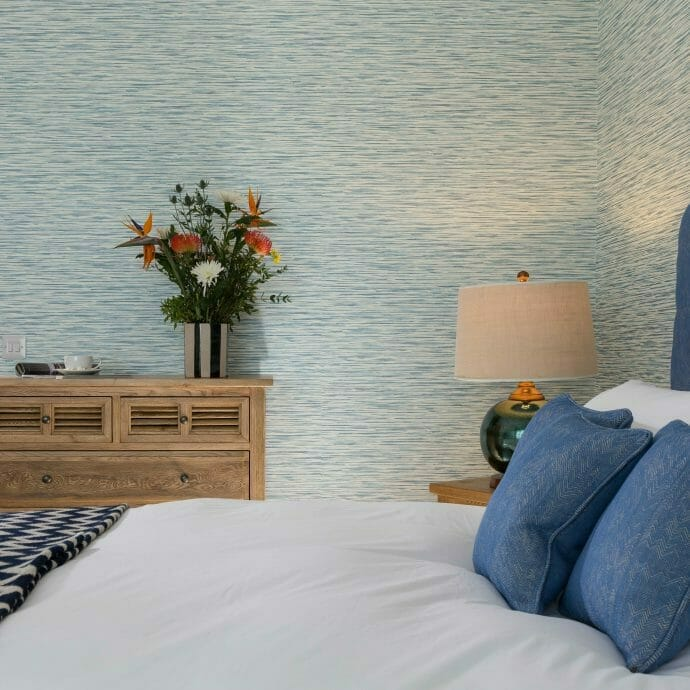 Brunschwig and Fils Herringbone Headboard Fabric with Sanderson Wallpaper