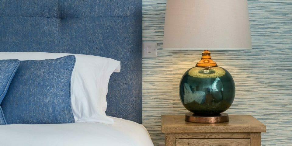 Perfect Blue Coastal Bedroom with Brunschwig and Fils Headboard and cushions in St Ives.