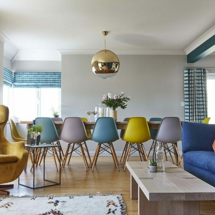 A contemporary and colourful dining room at Mawgan Porth, Cornwall