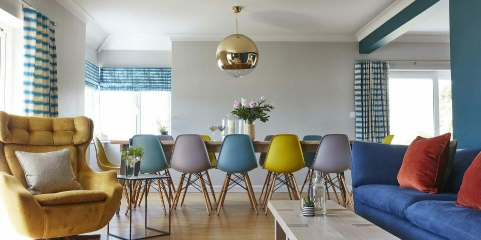 Camellia Interiors Beach House Dining Room Pastel Eiffel Chairs
